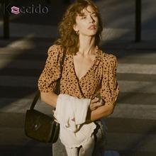 Wrap vintage leopard print blouse shirt Women puff