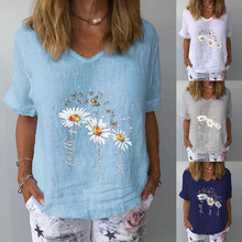 Summer print short-sleeved top ladies retro street shirt loose casual V-neck T-shirt plus size clothes 3XL women's pullover