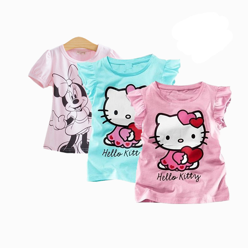COSPOT Baby Girls Hello Kitty Short Sleeve Tshirt Gilr's Summer T-shirt Children's Cotton T Shirt Baby Girl Clothes 2020 New 10