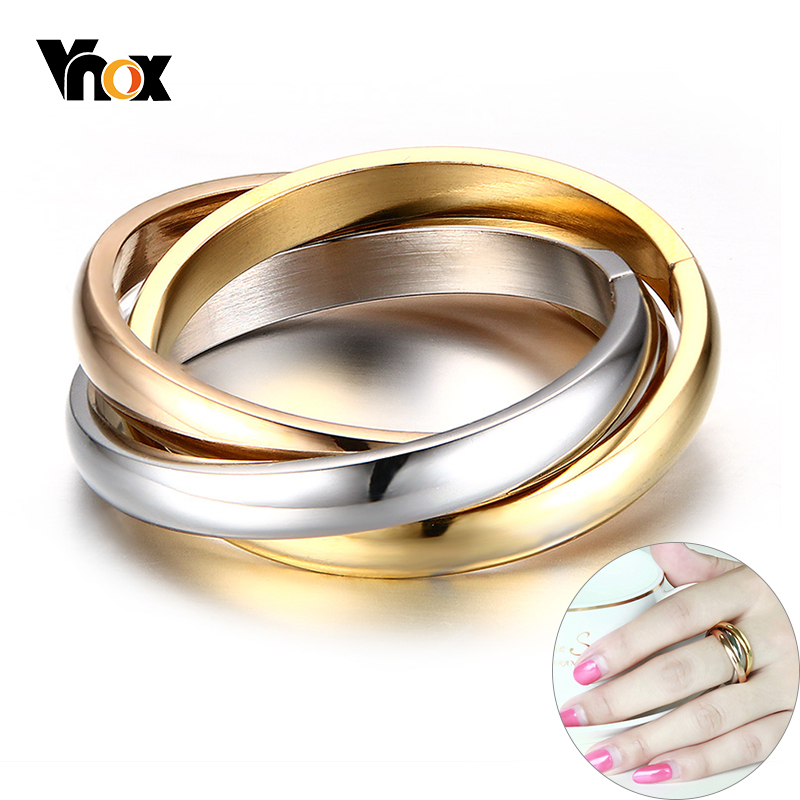 Vnox Classic 3 Rounds Ring Sets Women Stainless Steel Wedding Engagement Female Finger Jewelry(China)