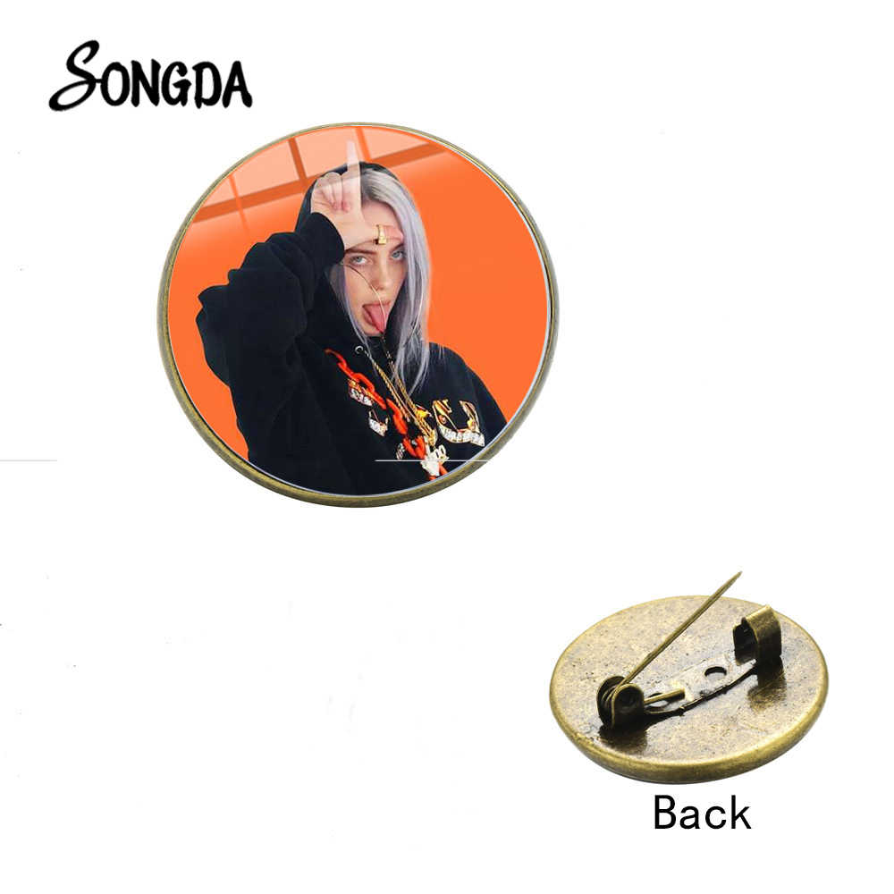 SONGDA Hot Billie Eilish póster broche pines Popular Hip Hop joven cantante Harajuku estilo broches de cristal ropa insignia Fans regalos