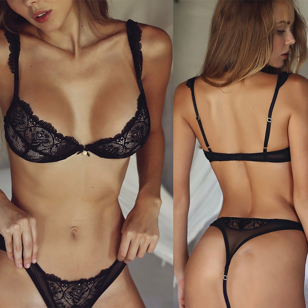 Sexy Lace Bra And Panty Set 2020 New Push Up Bra Set Bralette Thong Panties G-string Underwear Wire Free Bra & Brief Sets #3