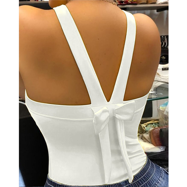 Elegant Women Backless Poker Spades Q Print Blouse Shirt 2020 Autumn Sexy Sleeveless Bowknot Top Ladies New Fashion Straps Blusa 3