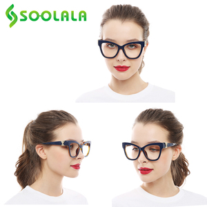 Image 5 - SOOLALA Cat okulary do czytania kobiety z skrzyżowanymi Rhinestone duże oprawki do okularów Lesebrille Reader okulary na receptę 0.5 do 4.0