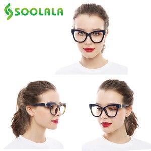 """Image 5 - SOOLALA очки для чтения """"кошачий глаз"""" для женщин со скрещенными стразами большая оправа для очков Lesebrille Reader очки по рецепту 0,5 до 4,0"""