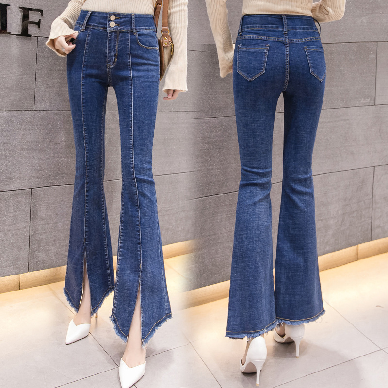 2019 Spring And Summer New Style Korean-style Slit Capri Micro Bell-bottom Pants Slim Fit Elasticity Jeans Fashion