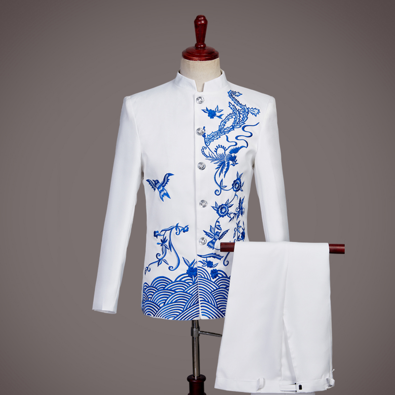 Coolred-Men Loose Chinese Style Harem Skinny 2-Piece Embroidery Tunic Shirt