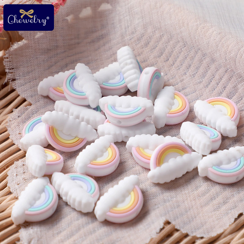 5pc Silicone Beads Rainbow Mini Cloud Tiny Rod Rodent Food Grade Baby Teether DIY Pacifier Chain Nursing Bracelet Baby Product