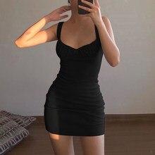 Bralette Skinny Sexy con fiocco abito Slim taglio basso 2021 abito estivo senza maniche moda donna Club femminile