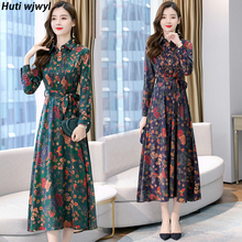 2020 Vintage Floral Print Satin Boho Maxi Dress Autumn Winte