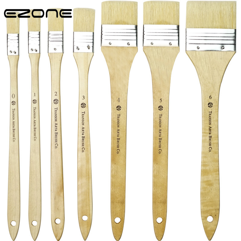 EZONE 1PC Pig Hair Oil Painting Brush Painting Brush Oil Watercolor Water Powder Propylene Acrylic Painting Pen Art Tool Supply