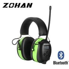 Proteção eletrônica da orelha de zohan bluetooth am/fm rádio tiro defensores da orelha segurança 2000mah bateria de lítio nrr25db muffs da orelha