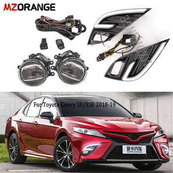 fog light +wire+daytime running light kits For Toyota Camry SE XSE 2018 LED DRL Daytime Running Fog Lights Turn Signal Lamp new arrival led drl daytime running light fog lamp for toyota camry 2015 top quality 100% waterproof pure white