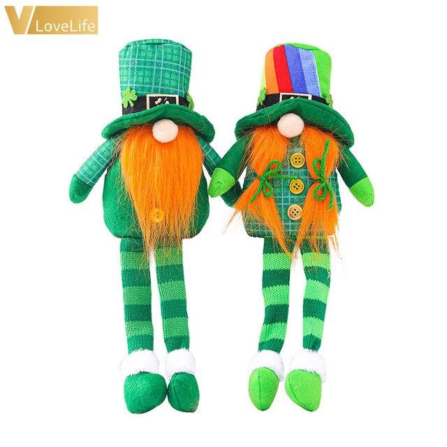 2pcs Green Gnome Doll St. Patrick's Day Irish Clover Embroidered Saint Patricks Day Table Decor Spring Decoration 1