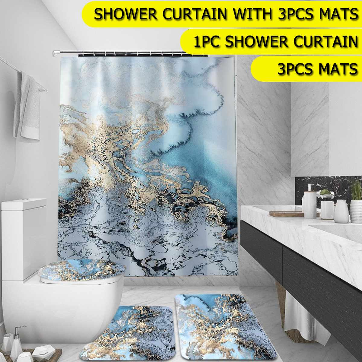 4pcs marble bathroom polyester shower