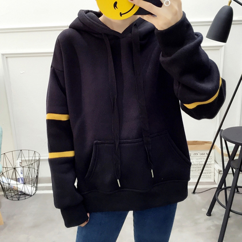 Women Sweatshirts Elegant Color Block Striped Pullovers Tops Lady Hooded Sweatshirt Autumn Minimalist Clothing
