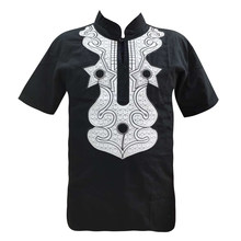 2020 African Clothes for Male Summer Wearing Men Dashiki Embroidery Tops Africa Bazin Shirt(China)