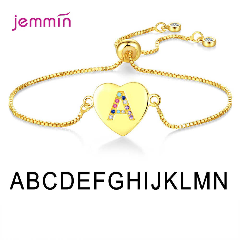 A-N Letter Pendant Bracelet For Women Bright Fashion Jewelry Newest Models Genuine 925 Sterling Silver Bracelet Dance Party Date