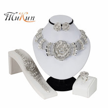MUKUN 2019 Nigerian Wedding African Beads Jewelry Sets Crystal Necklace Silver Color Set Accessories Party