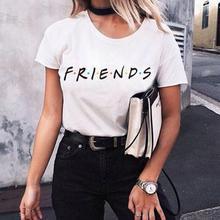 FRIENDS Letter Print T Shirt Women Short Sleeve O Neck Loose Tshirt 2020 Summer
