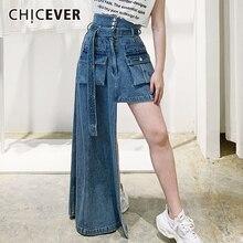 Blue Skirt Asymmetrical High-Waist Women Casual Sashes CHICEVER for with Hem Designer