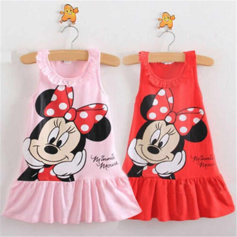פעוטות ילדים ילדי קיץ בגדים מודפס קריקטורה מיני מאוס תינוק בנות שמלת נסיכת שמלות 2-6 שנים