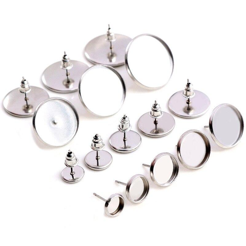 6/8/10/12mm-20mm 20pcs Stainless Steel Earring Studs,Earrings Blank/Base,Fit 6-20mm  Glass Cabochons,Buttons;Earring Bezels