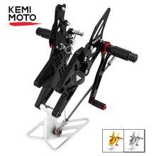 KEMiMOTO juego trasero ajustable MT 03 MT 25 MT03 MT25 CNC, reposapiés para Yamaha YZF R25 R3 MT 03 MT 25
