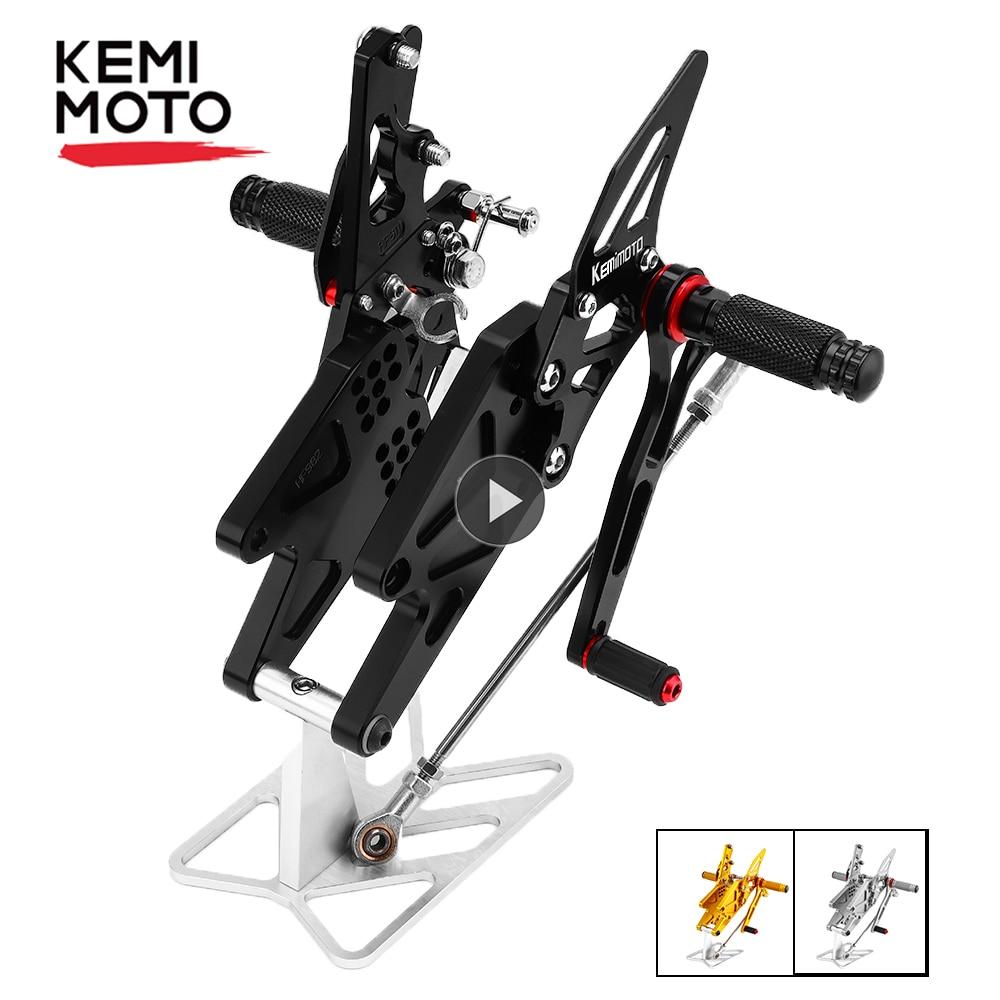 KEMiMOTO MT 03 MT 25 MT03 MT25 CNC Регулируемая Задняя подставка для ног для Yamaha YZF R25 R3 Φ 2014-2020