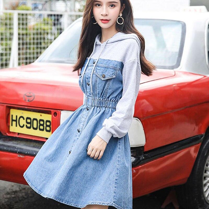 S-2XL grande taille coréenne Denim automne dames robe Patchwork mode unique boutonnage à capuche une ligne Mini femmes robe de soirée Vestidos