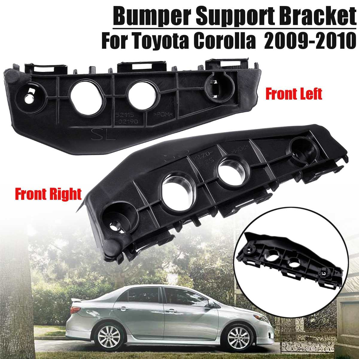 1 Pair Front Left Right Bumper Spacer Bracket Mount Black For Toyota Corolla 2009 2010 TO1043110 5211502130