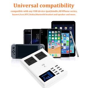 Image 5 - 8 USB bağlantı noktaları hızlı şarj soketi, led ekran ile cep telefonu duvar usb priz için iphone 6 7 8 7 artı X xiaomi