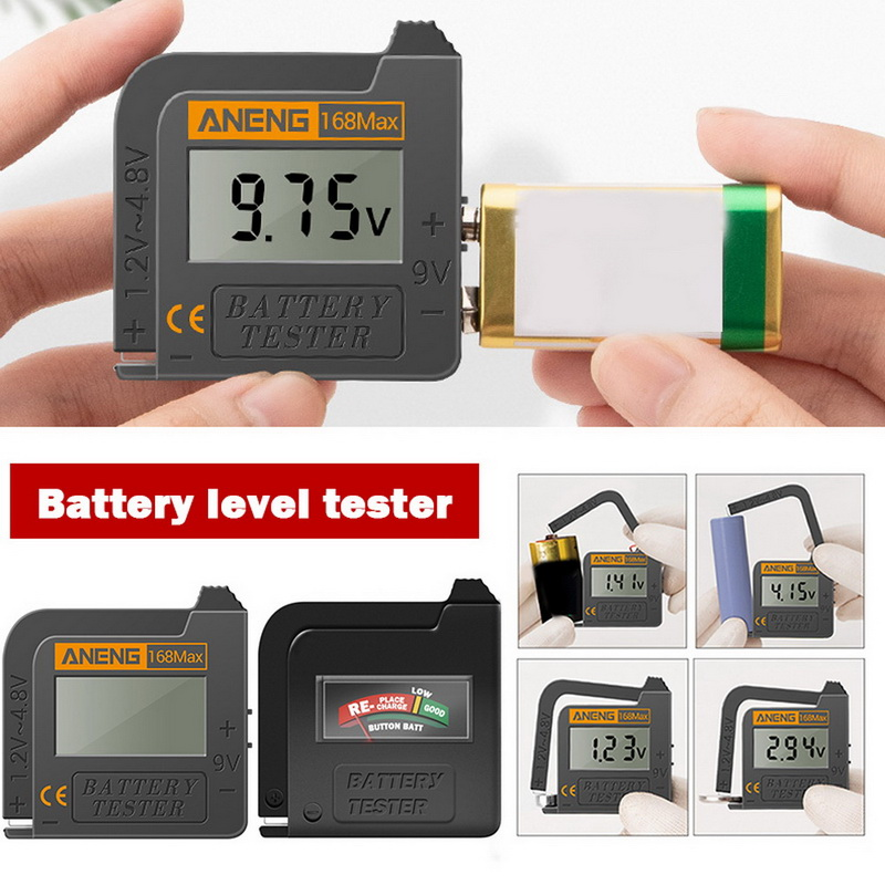 Battery Tester Battery Capacity Checker For Aa Aaa 9v 1.5v Button Cell Battery Test The Condition Of Your Battery Black