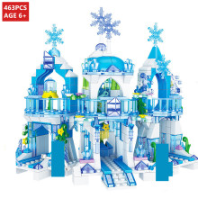 463Pcs Elsa Anna Ice Dream Romantic Castle Building Blocks Christoph Princess Friends Bricks Toys for Children