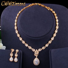 CWWZircons muhteşem su damlası kübik zirkonya 585 altın kadın parti düğün kolye ve küpe lüks gelin takı seti T405