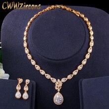 CWWZircons pendientes y collar de oro 585 para mujer, circonita cúbica de gota de agua, para fiesta, boda, novia, juego de joyería de lujo T405