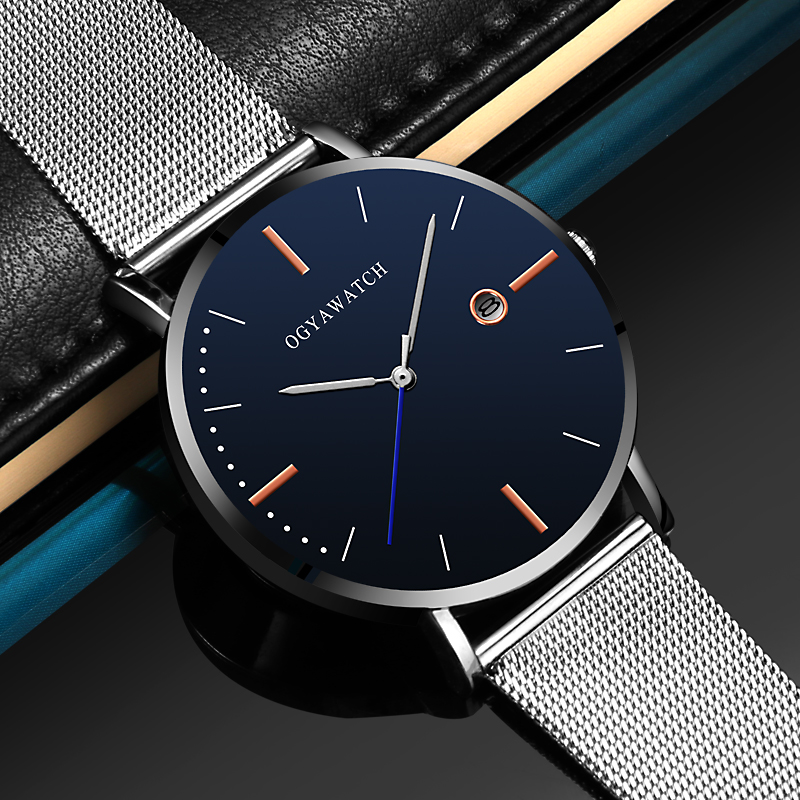 Relogio Masculino Men's Watch Fashion Calendar Sports Watch Men Ultra-thin Stainless Steel Quartz Wrist Watch Male Clock Reloj