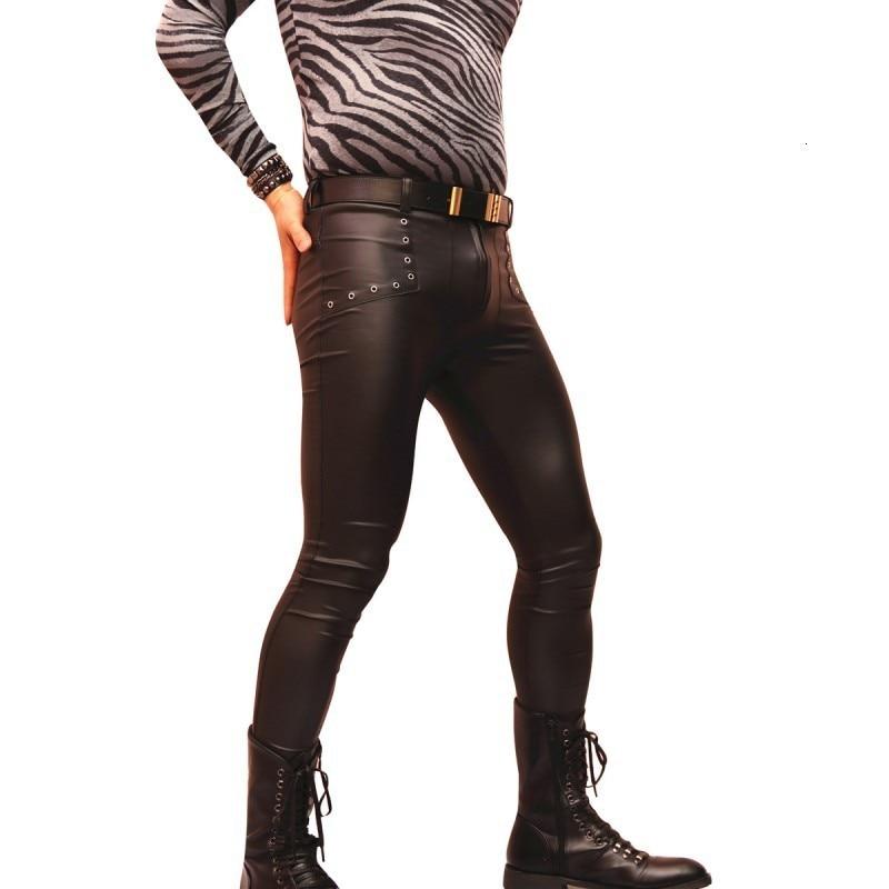 2020 New Men Slim Pu Leather Moto Pants Sexy Night Club Skinny Pencil Pants Fashionable Black Biker Male Trousers Thin S-XXL
