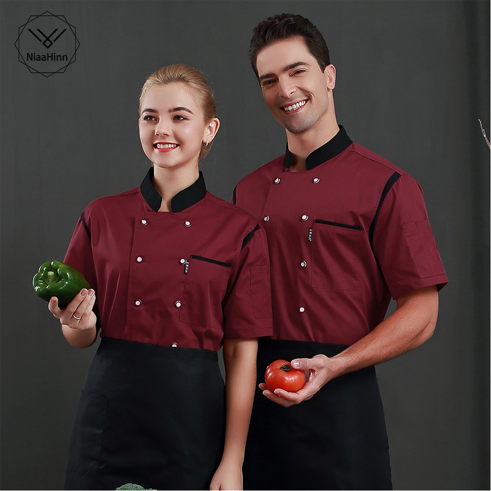 Wholesale Unisex Restaurant Uniform Bakery Food Service Short Sleeve Uniform Breathable Double Breasted Chef Jacket Chef Clothes