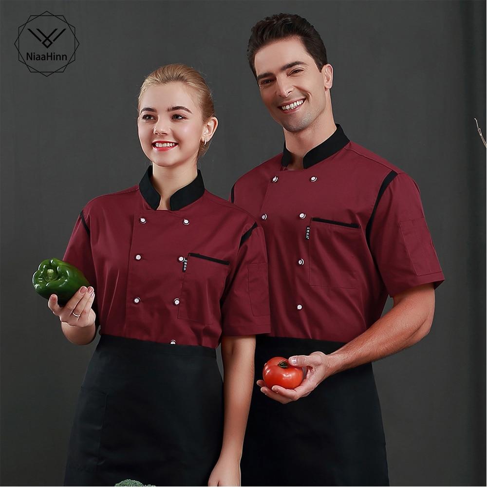 Wholesale Unisex Restaurant Uniform Bakery Food Service Short Sleeve Uniform Breathable Double Breasted Chef Jacket Chef Clothes