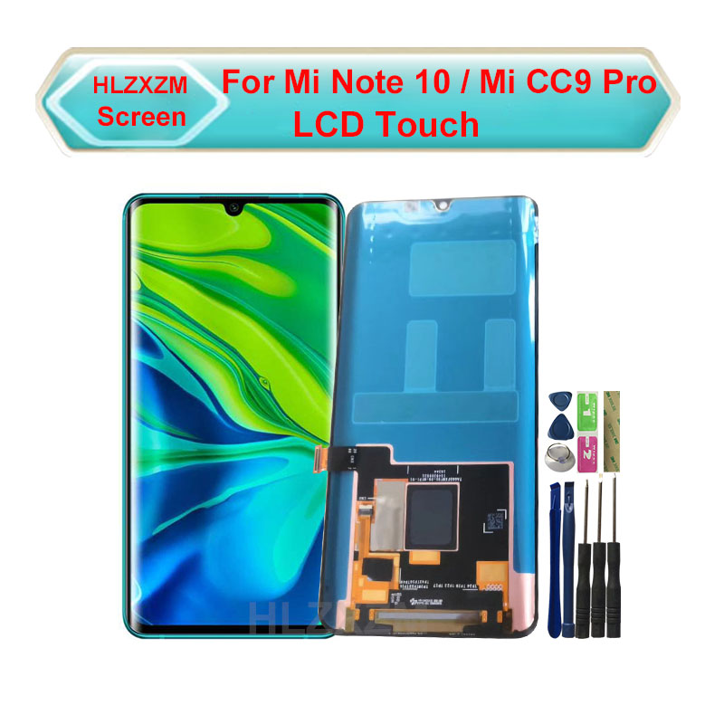 100% Amoled For Xiaomi MI Note 10 LCD Display With Touch Screen Digitizer Assembly Replacement for xiaomi mi cc9 pro lcd display