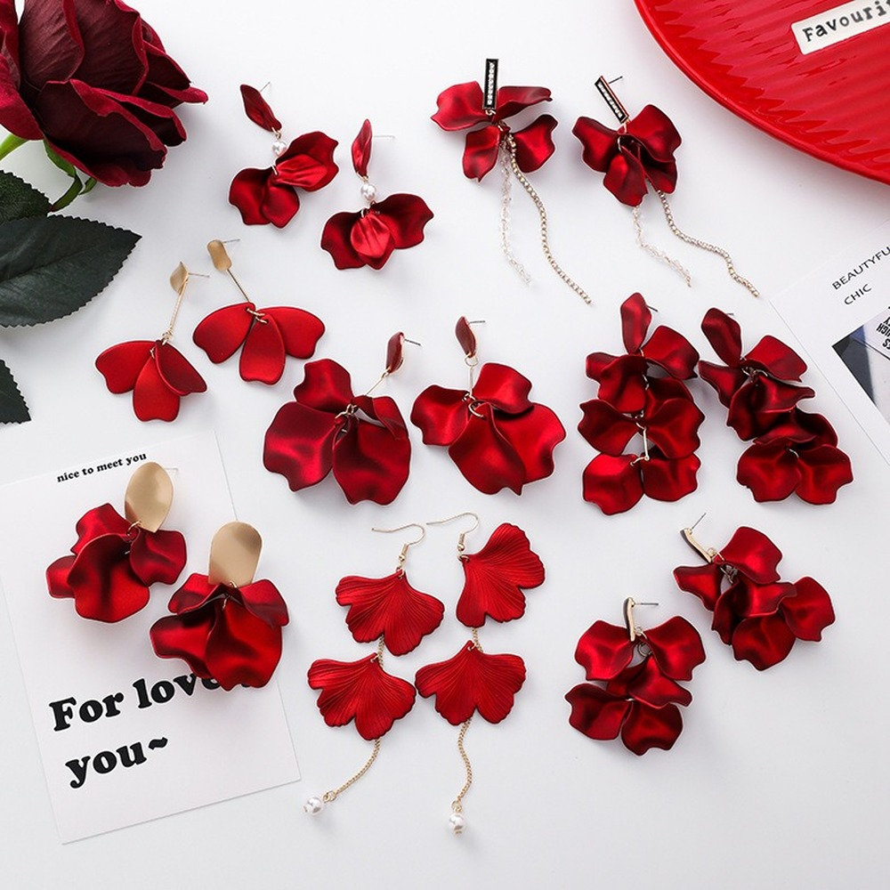 Korean Red Rose for Women Flower Tassel Vintage Long New Year Bride Wedding Acrylic Charm Earrings