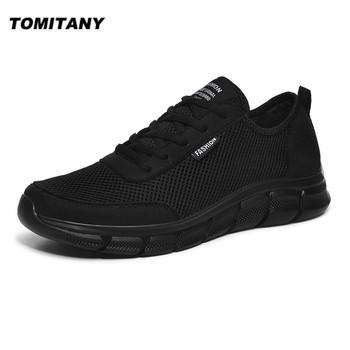 Nowe siatkowe męskie buty sznurowane obuwie męskie trampki oddychające lekkie obuwie wygodne buty sportowe Zapatillas Hombre tanie i dobre opinie TOMITANY Mesh (air mesh) RUBBER Lace-up Pasuje prawda na wymiar weź swój normalny rozmiar Podstawowe Wiosna jesień 0217