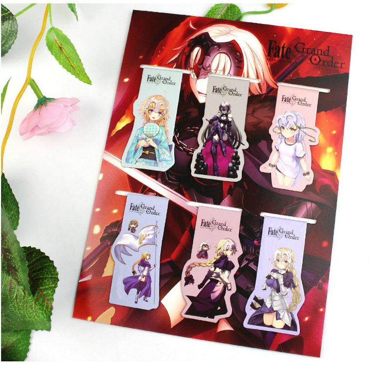6pcs Fate/Grand Order Anime Magnetic Bookmark Magnet Bookmark Child Student Kawaii Gift Bookmarks Office Stationery
