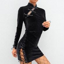 цены Chinese Style Velvet Dress Solid Women Black Sexy Criss Cross Bandage Dresses Long Sleeve Turtleneck Party Bodycon Dress