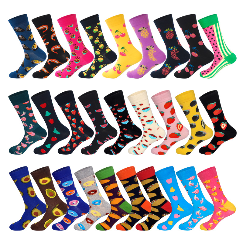 LIONZONE Men Cotton Socks Fruit Series Watermelon Strawberry Pear Apple Banana Avocado Pineapple Cherry Men&Women Unisex Sock