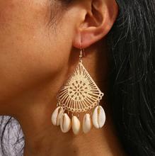 Bohemia Vintage Fashion Earrings For Women Geometric Triangle Long Shell Tassel Dangle Earrings Jewelry