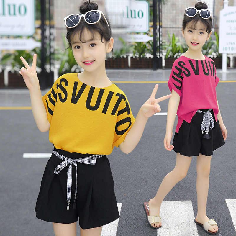 2020 di estate del bambino Vestiti Delle Ragazze Abiti Del Bambino Dei Capretti Dei Bambini di Modo Top t shirt Shorts pant 3 4 5 6 7 8 9 10 11 12 13 14 anni