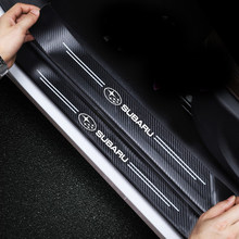 4PCS For Subaru Forester Keyset 2019 Our XV LiLion BRZ Car Sticker Door Carbon leather Fiber Sill Plate accessories