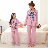 Mother Daughter Pajamas Mum Mother and Daughter Matching Clothes Baby Pajamas Kids Letter Girls Sleepwear Autumn Night Suit Cute